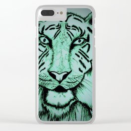 Neon Tiger Green Clear iPhone Case