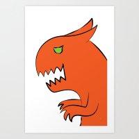 Dino-monster, the cat Art Print