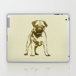 Pug Puppy sketch on canvas with gold accents Laptop & iPad Skin
