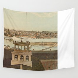Vintage Pictorial Map of Minneapolis MN (1874) Wall Tapestry