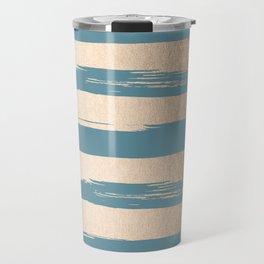 Painted Stripes Gold Tropical Ocean Blue Travel Mug