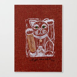 Cheerful Booming Adventure Lucky Cat Canvas Print