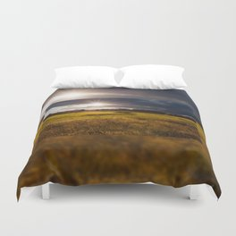 Breathtaking sunset above meadow Duvet Cover