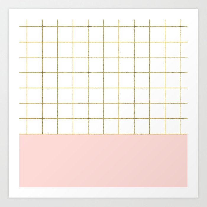 Gold Grid + Pink Art Print