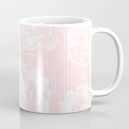 Rose Garden Pink Flamingo on White Mid-Century Lattice Coffee Mug