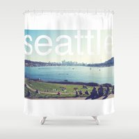 seattle Shower Curtains featuring seattle by Rae Snyder