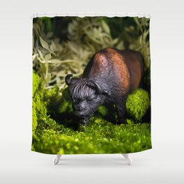 A Bison/Buffalo in lush greenery Shower Curtain