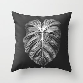 Monstera Deliciosa Black and White Throw Pillow