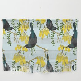 Tuis in the Kowhai Flowers Wall Hanging