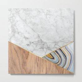 Geometric White Marble - Wood & Blue Marble #782 Metal Print
