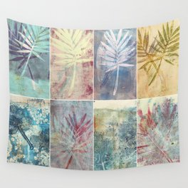 Monoprint collage of leaves Wall Tapestry