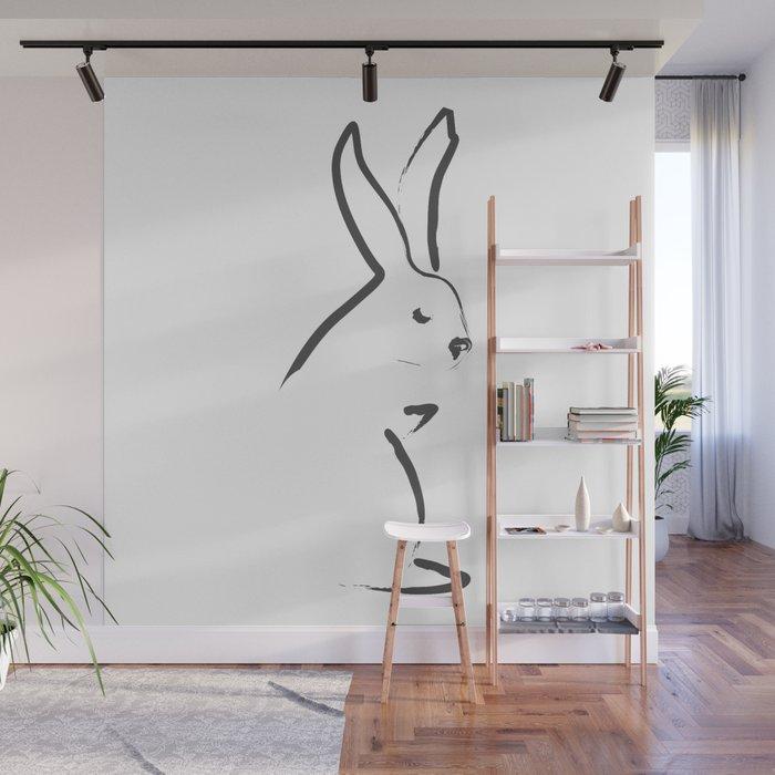 Zen Snow Bunny Wall Mural by budikwan Society6