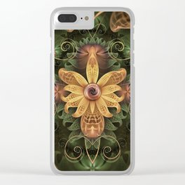 Beautiful Filigree Oxidized Copper Fractal Orchid Clear iPhone Case