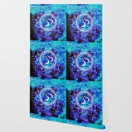 Om Mandala : Bright Violet & Teal Wallpaper