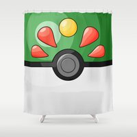 pokeball Shower Curtains featuring Friendship Pokeball by Amandazzling