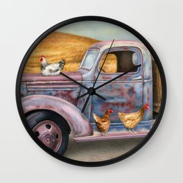 Where The Hens Gather Wall Clock