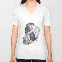 mermaid V-neck T-shirts featuring Mermaid by April Alayne