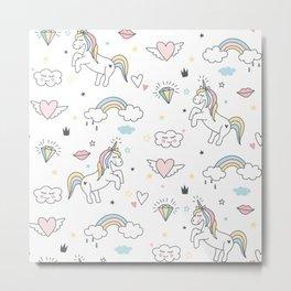 Unicorns & Rainbows Metal Print