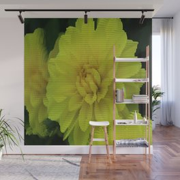 Bright Yellow Dahlia Abstract Wall Mural