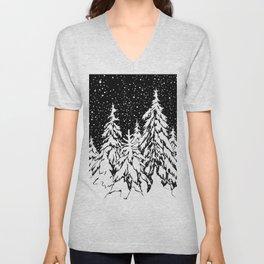 Winter forest Unisex V-Neck