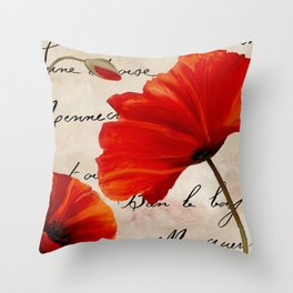 Coquelicots Red Throw Pillow