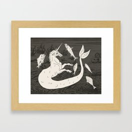 Unicorn Mermaid battle at Sea Framed Art Print