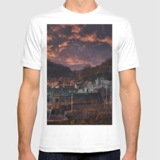 Doom Looms Around The Village White Mens Fitted Tee MEDIUM