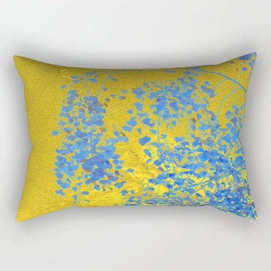 Blue Branch on Gold Rectangular Pillow