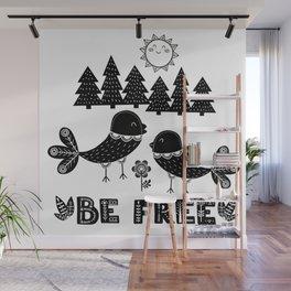 Be Free Birds In Cute Scandinavian Style Wall Mural