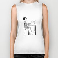 typewriter Biker Tanks featuring Typewriter by flapper doodle