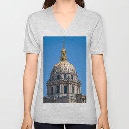 Hotel des Invalides dome in Paris Unisex V-Neck