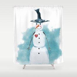 Thin Snowman Shower Curtain