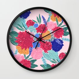 Cute Colorful Flowers Bouquet Hand Paint Wall Clock