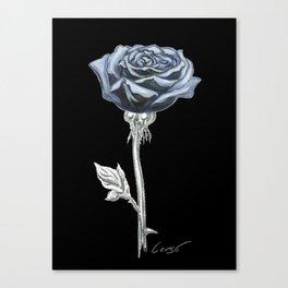 Rose 03b Botanical Flower * Blue Black Rose Canvas Print