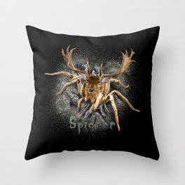 Spider + Deer = Spideer Tarantula Antlers Wilderness Hunting Throw Pillow