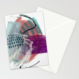 Pheonix: a bright abstractmixed media piece in pink, purple, blue, and white Stationery Cards