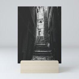 Black & white tight alley in Porto, Portugal Mini Art Print