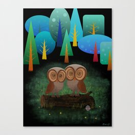 Owl Pals In The Forest Canvas Print