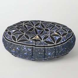 Flower of life in the space Floor Pillow