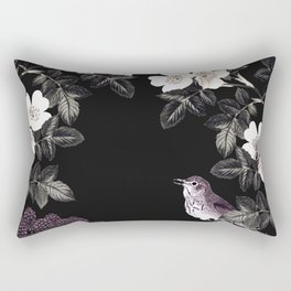 Blackberry Spring Garden Night - Birds and Bees on Black Rectangular Pillow