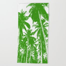Palm Trees Design in Green and White Beach Towel