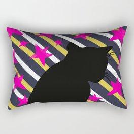 Black Cat on Gold Stripes n Pink Stars Rectangular Pillow