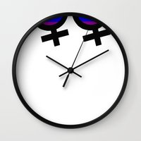 lesbian Wall Clocks featuring Lesbian Sign by Piensa Gay