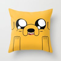 jake Throw Pillows featuring Adventure - Jake by Alessandro Aru
