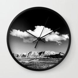 Black Sky Desert Landscape // Red Rock Canyon Las Vegas Nevada Mojave Mountain Range Wall Clock
