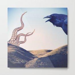 Raven vs Kraken Metal Print