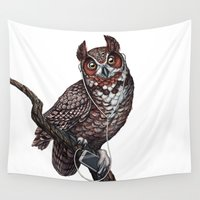 headphones Wall Tapestries featuring Great Horned Owl with Headphones  by Jada Fitch