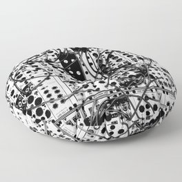 analog synthesizer system - modular black and white Floor Pillow