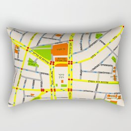 Tel Aviv map design - written in Hebrew Rectangular Pillow