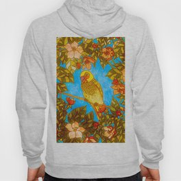 Colourful Yellow Parakeet In Flowery Wreath Hoody